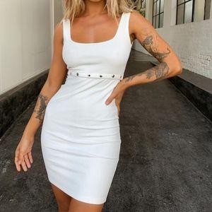 Tiger Mist White Babylon Snap Front Dress